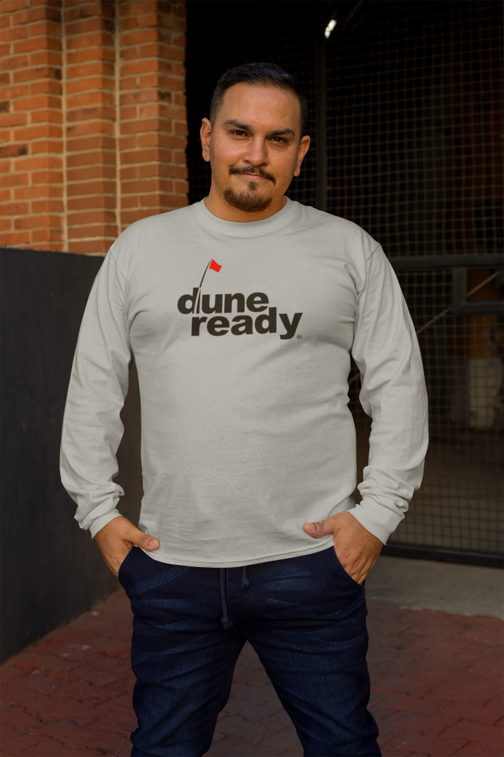 Long Sleeve T Shirt Gray with Black Dune Ready Logo