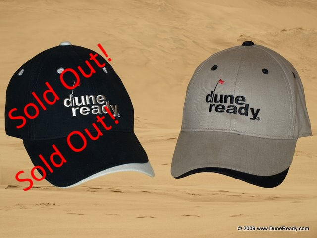 Baseball Cap Black and sand with Velcro Closure and Embroidered Dune Ready Logo