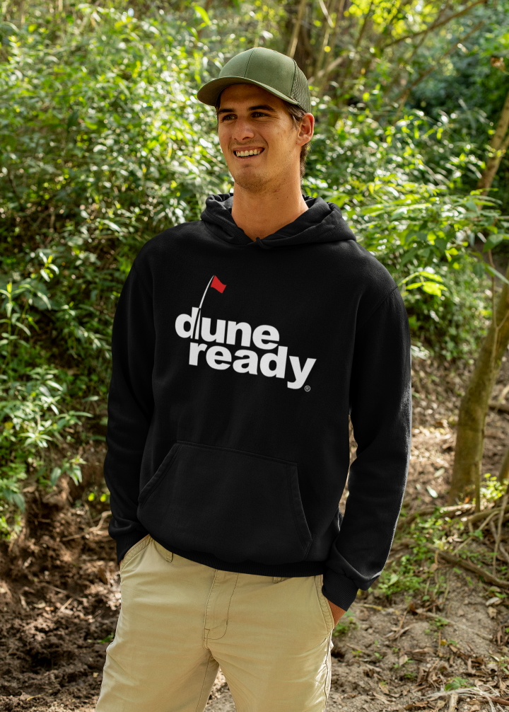 Hooded Sweatshirt Black with Front White Dune Ready Logo with Pockets